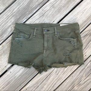 rag & bone Distressed Cheeky Shorts Army Green 28